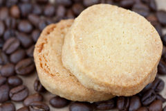 Cookies and coffee. Two vanilla cookies and the coffee Royalty Free Stock Images