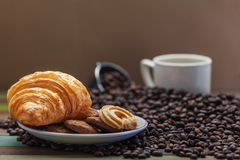 Cookies with coffee beans Stock Images
