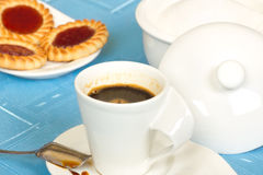 Cookies and coffee for breakfast. Horizontal shot Royalty Free Stock Image