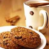 Cookies and coffee with cinnamon Royalty Free Stock Image