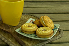 Cookies, coffee, cocoa, wood, ceramics, beverage, breakfast. Royalty Free Stock Photo