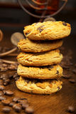 Cookies and coffee. Cup of coffee and chocolate cookies Royalty Free Stock Image