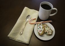Cookies and Coffee on a dark wood table Stock Images
