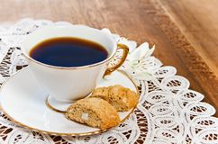 Cookies and coffee with flower Stock Images