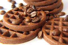 Cookies and coffee grains close up Stock Photo