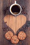 Cookies, coffee and heart Royalty Free Stock Photography