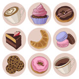 Cookies and coffee isolated set Royalty Free Stock Image