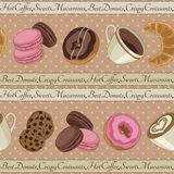 Cookies and coffee pattern, beige Royalty Free Stock Photos