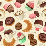 Cookies and coffee pattern, light yellow vector illustration