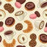 Cookies and coffee pattern, light yellow. Yummy colorful chocolate cookies, donuts and cups of coffee seamless pattern, light yellow Stock Image