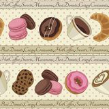 Cookies and coffee pattern, light yellow Royalty Free Stock Image