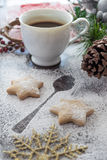 Cookies and Coffee for Santa Claus. Holly Christmas Decoration, Cookies and Coffee for Santa Claus Stock Photo