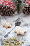Cookies and Coffee for Santa Claus. Holly Christmas Decoration, Cookies and Coffee for Santa Claus Stock Image