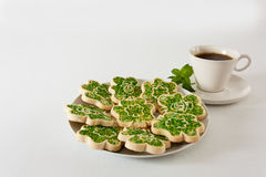 Cookies and coffee for St. Patrick's Day Stock Photo