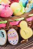 Cookies and colored eggs for Easter Day Royalty Free Stock Photos