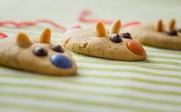 Cookies com a cauda dada forma e vermelha do rato do alcaçuz Fotos de Stock Royalty Free