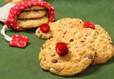 Cookies com partes de chocolate e de porcas Imagens de Stock
