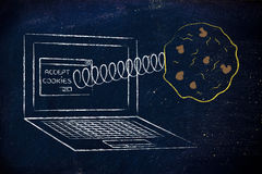 Cookies coming out of laptop screen from a browser stock photos