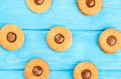 Cookies with condensed milk. On a blue wooden background, top view stock photo