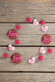 Cookies and confectionery displaying love message Royalty Free Stock Photo
