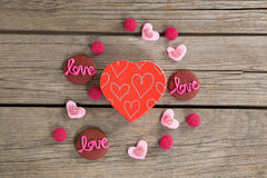 Cookies and confectionery displaying love message Royalty Free Stock Photos