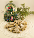 Cookies with the conifer and toy Stock Photography