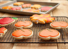 Cookies on cooling rack. Sugar cookie cut-outs in the shape of pumpkins, apples, and autumn leaves lay on a cooling rack alongside a cookie sheet Stock Photo