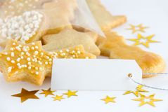 Cookies with copy space. Some christmas or festive cookies with a marker tag with copy space Royalty Free Stock Photo