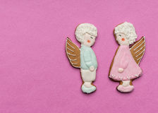 Cookies couple of angels Royalty Free Stock Image