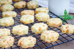 Cookies cozidas frescas do queijo com manjericão Imagem de Stock