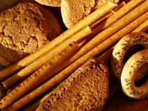 Cookies and crackers. Sweet cookies, sticks and crackers close-up royalty free stock photo