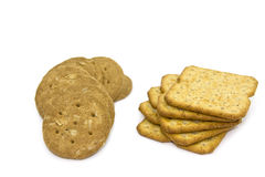 Cookies and crackers. Isolated on white background royalty free stock images
