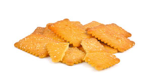 Cookies crackers biscuits sprinkled with sesame. Stock Photography