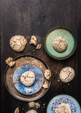 Cookies with cracks in enameling bowls Stock Photos