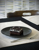 Cookies and cream brownie on a black plate Royalty Free Stock Photo