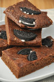Cookies and Cream Brownies. Freshly cooked chocolate brownies cooling stock photo