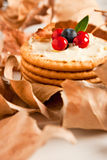 Cookies with cream cheese and blueberries Stock Image
