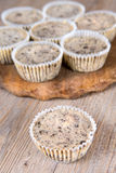 Cookies and cream cheesecakes in muffin forms Royalty Free Stock Photo