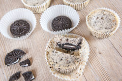 Cookies and cream cheesecakes in muffin forms Stock Photo