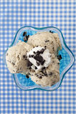 Cookies and cream ice cream. Overhead shot of a cookies and cream ice cream royalty free stock photo