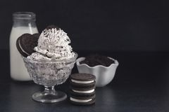 Cookies and Cream Ice Cream. On a Dark Background royalty free stock photos