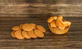 Cookies and croissants. On a wooden background Stock Photography