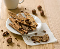 Italian biscotti and cup of coffee Royalty Free Stock Image