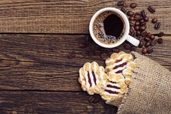 Cookies and cup of coffee Royalty Free Stock Images