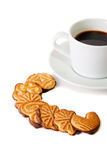 Cookies and cup of coffee. Selective focus on Royalty Free Stock Images
