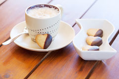 Cookies and a cup of fresh coffee Stock Photo