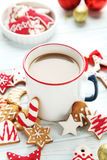 cookies with cup of hot coffee Royalty Free Stock Photos