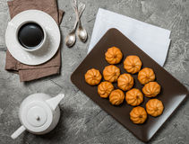 Cookies and cup of hot coffee Stock Images