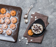 Cookies and cup of hot coffee Royalty Free Stock Photo