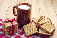 Cookies and cup of milk Royalty Free Stock Photography